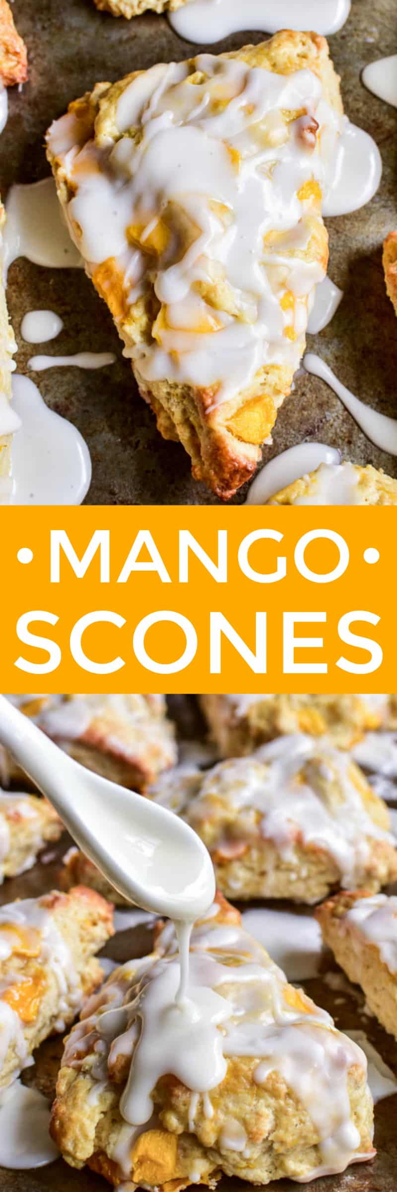 These Bakery Style Mango Scones are one of our favorite breakfast treats!  They're golden brown and crispy on the outside, moist and delicious on the inside, and drizzled with a sweet vanilla glaze. The perfect scones...with a fun flavor twist!  This easy recipe makes a delicious addition to any breakfast, brunch, or afternoon tea, and can also double as dessert. If you love all things mango, these Mango Scones are sure to become one of your new favorites!