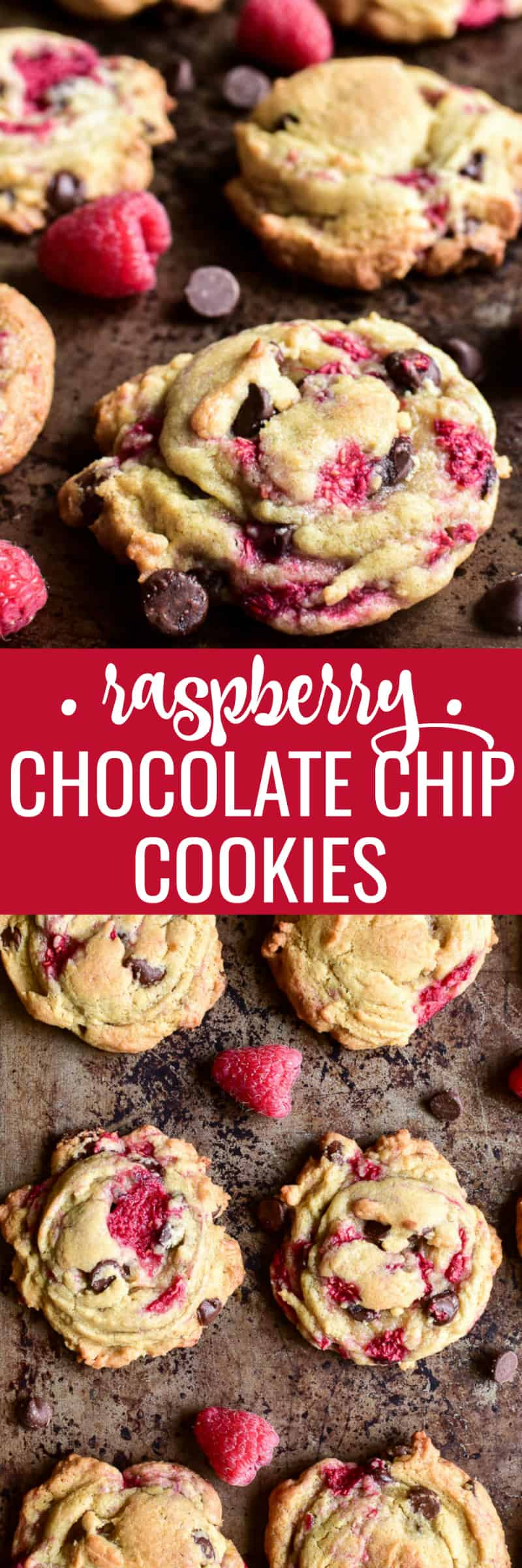 Take chocolate chip cookies to the next level with the addition of fresh raspberries!  These Raspberry Chocolate Chip Cookies are everything you never realized your life was missing. Soft, chewy cookies bursting with the delicious flavors of raspberry and chocolate. If you love chocolate chip cookies, these are sure to become a new favorite.