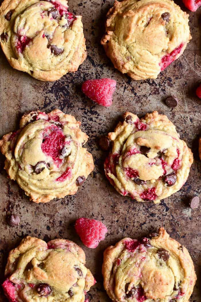 Close-up of 6 Raspberry Chocolate Chip Cookies
