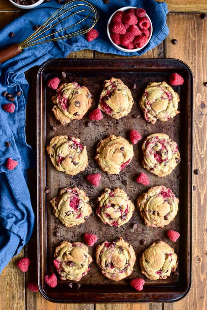 Overhead image of Raspberry Chocolate Chip Cookies on baking sheet