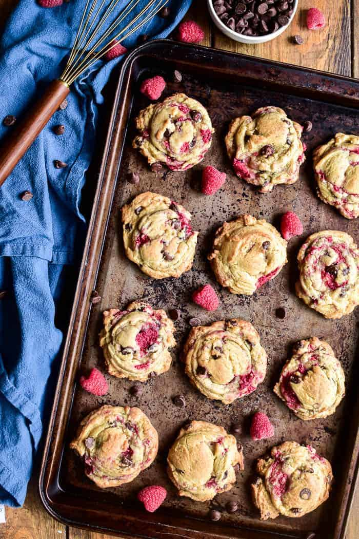 Raspberry Chocolate Chip Cookies on baking sheet