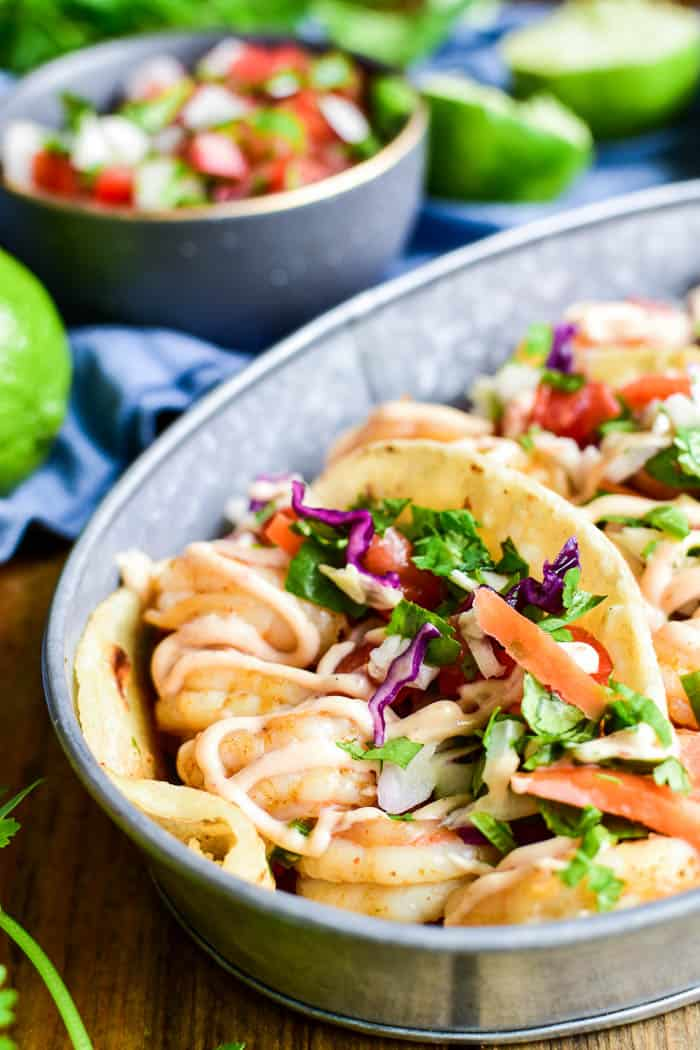 Close-up of Shrimp Tacos with Citrus Slaw