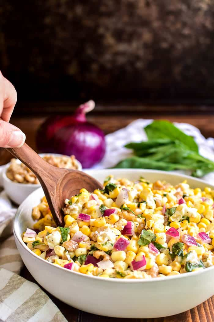Fresh Corn Salad with serving spoon