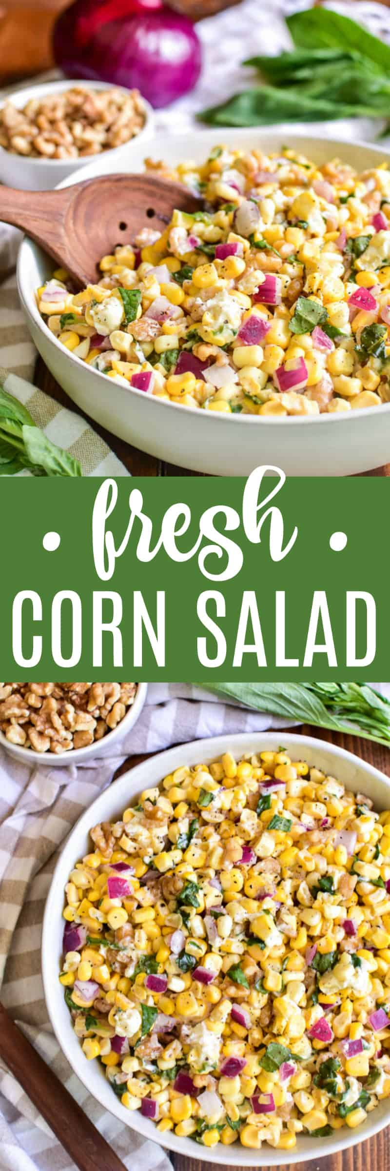 Collage image of Fresh Corn Salad with serving spoon and overhead