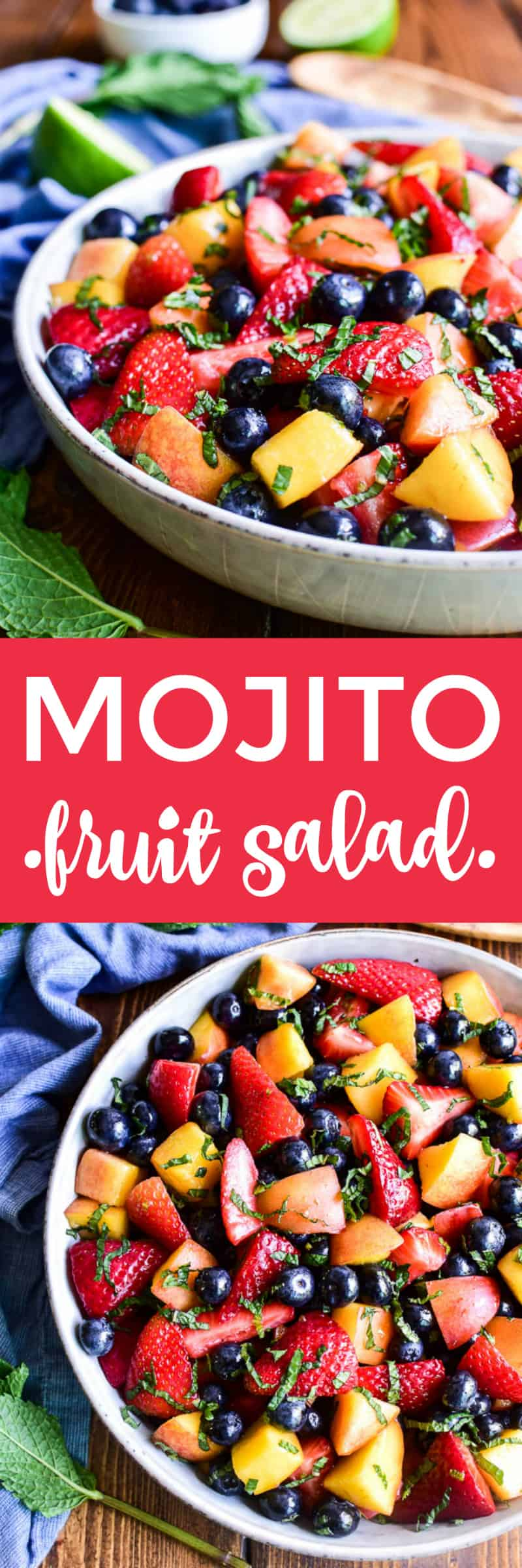 Collage image of Mojito Fruit Salad
