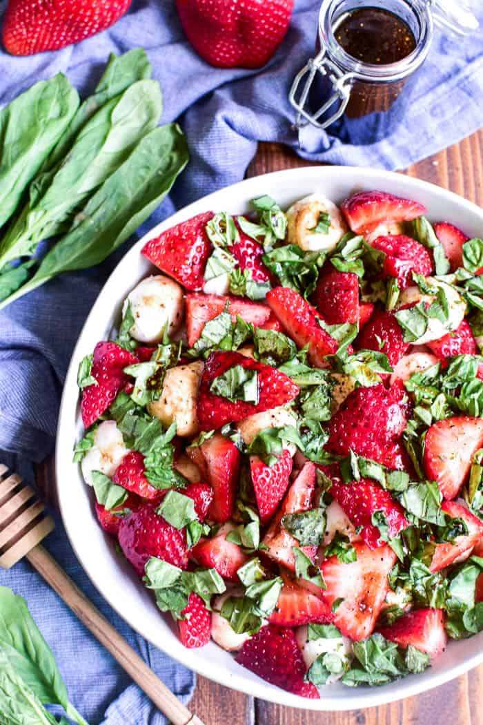 Overhead image of Strawberry Caprese Salad