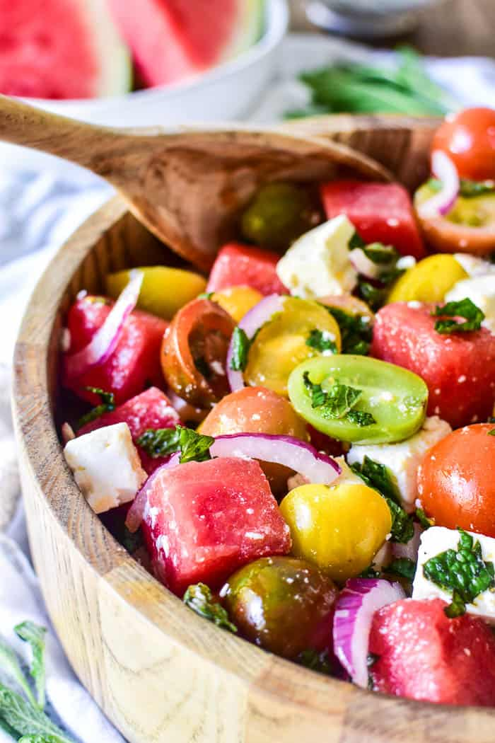 Watermelon Feta Salad with serving spoon