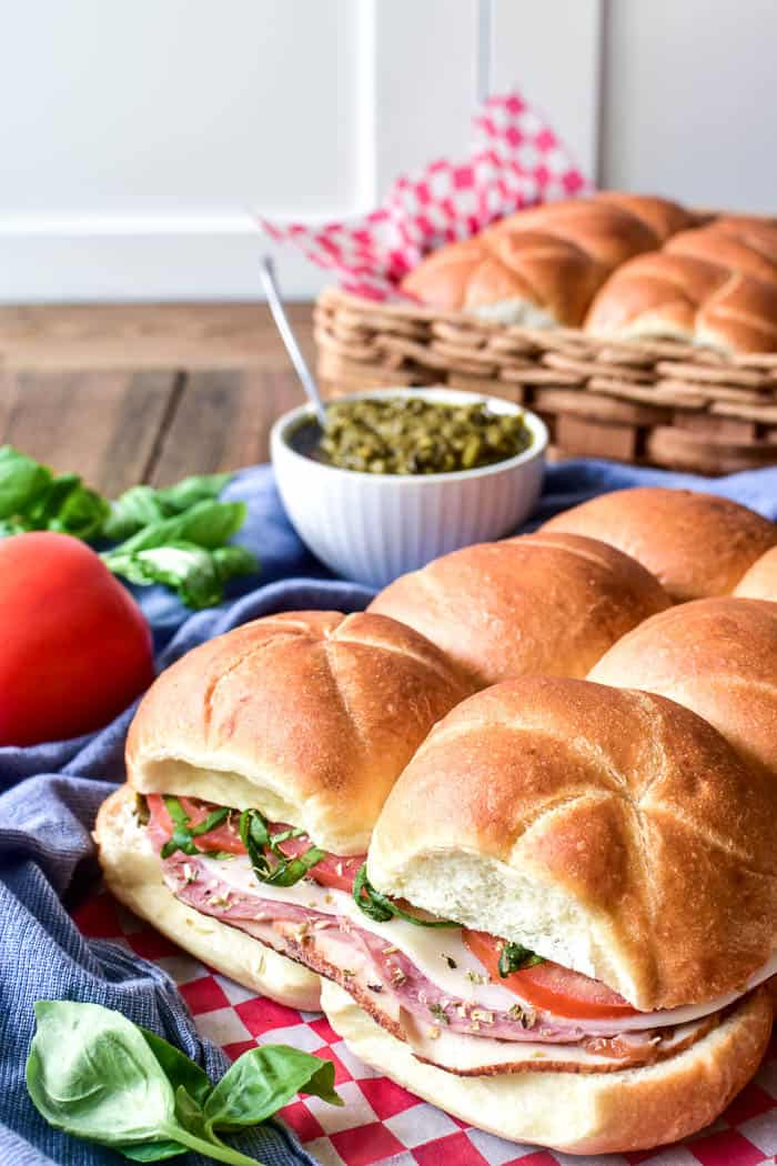 Italian Sliders on picnic napkin