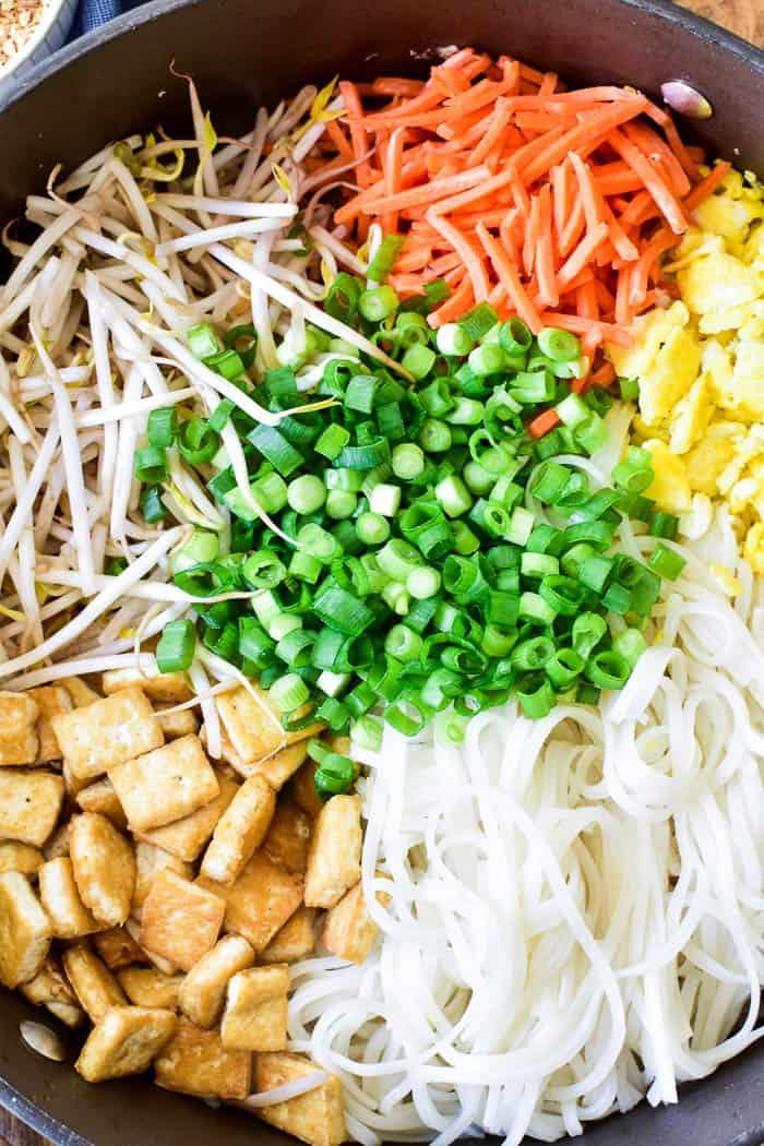 Pad Thai ingredients in pan