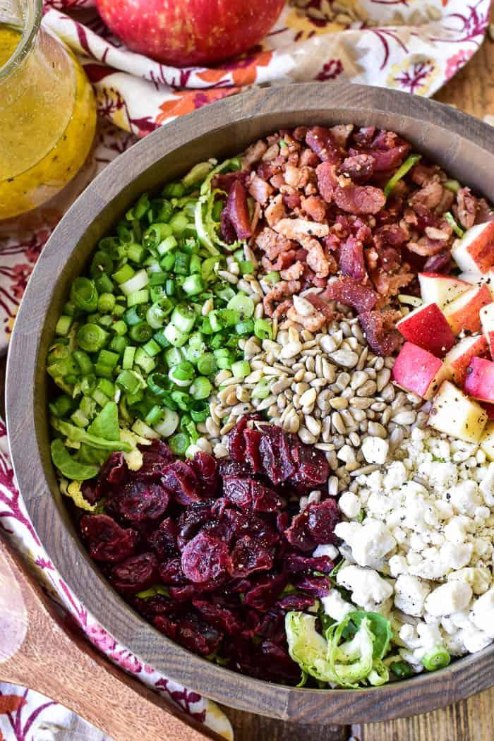 Brussel Sprout Salad ingredients in salad bowl