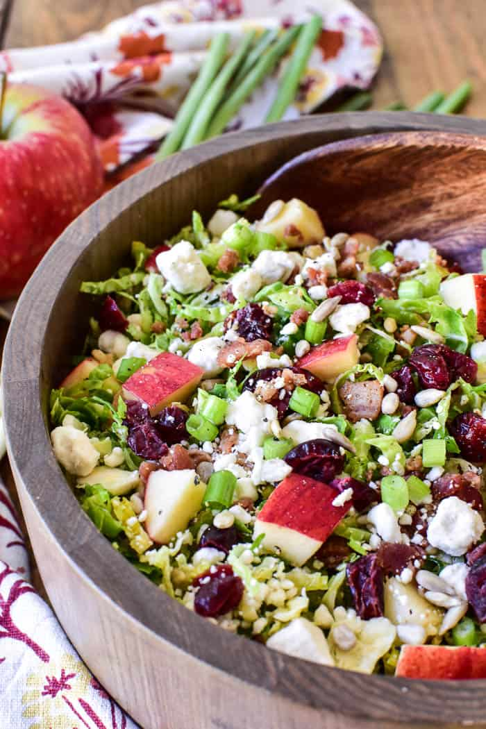 Brussel Sprout Salad with serving spoon