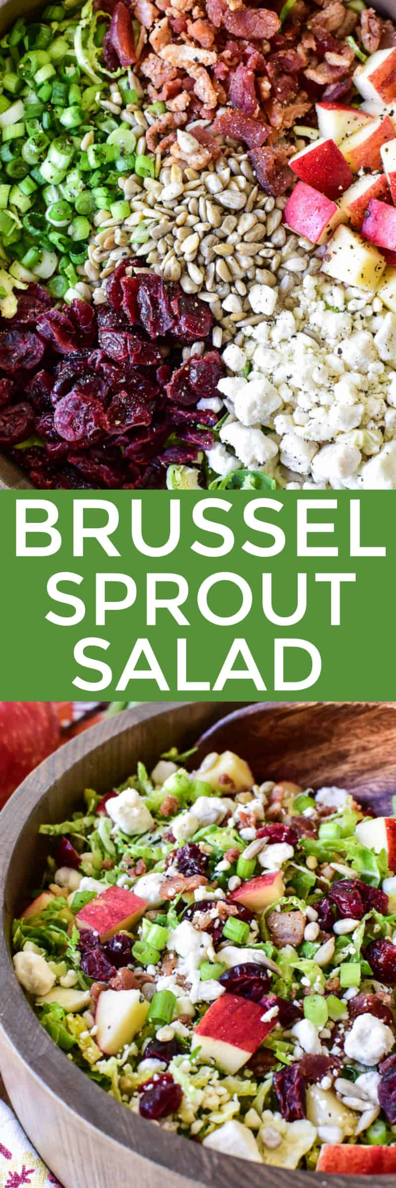 Collage image of Brussel Sprout Salad & ingredients