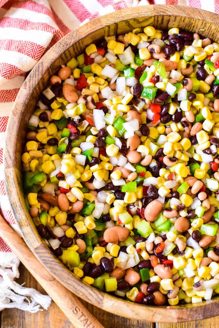 Overhead of Cowboy Caviar in serving bowl