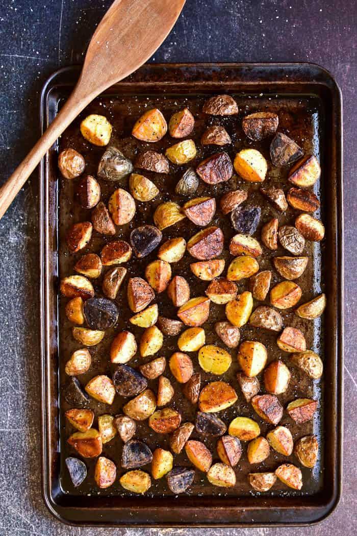 Overhead shot of roasted potatoes on pan