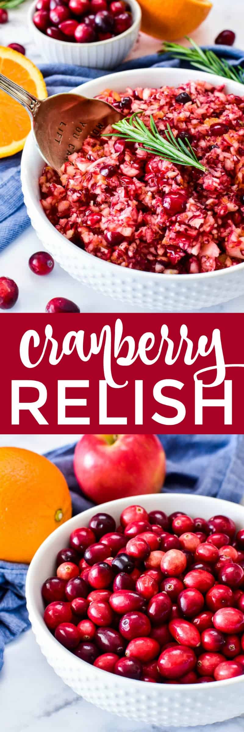Collage image of cranberry relish