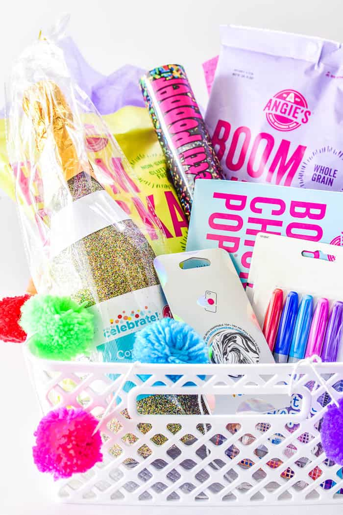Close up of Popcorn Gift Basket including Angie's Boomchickapop Popcorn, confetti poppers, Pop Socket, and Electro Pop Sharpies