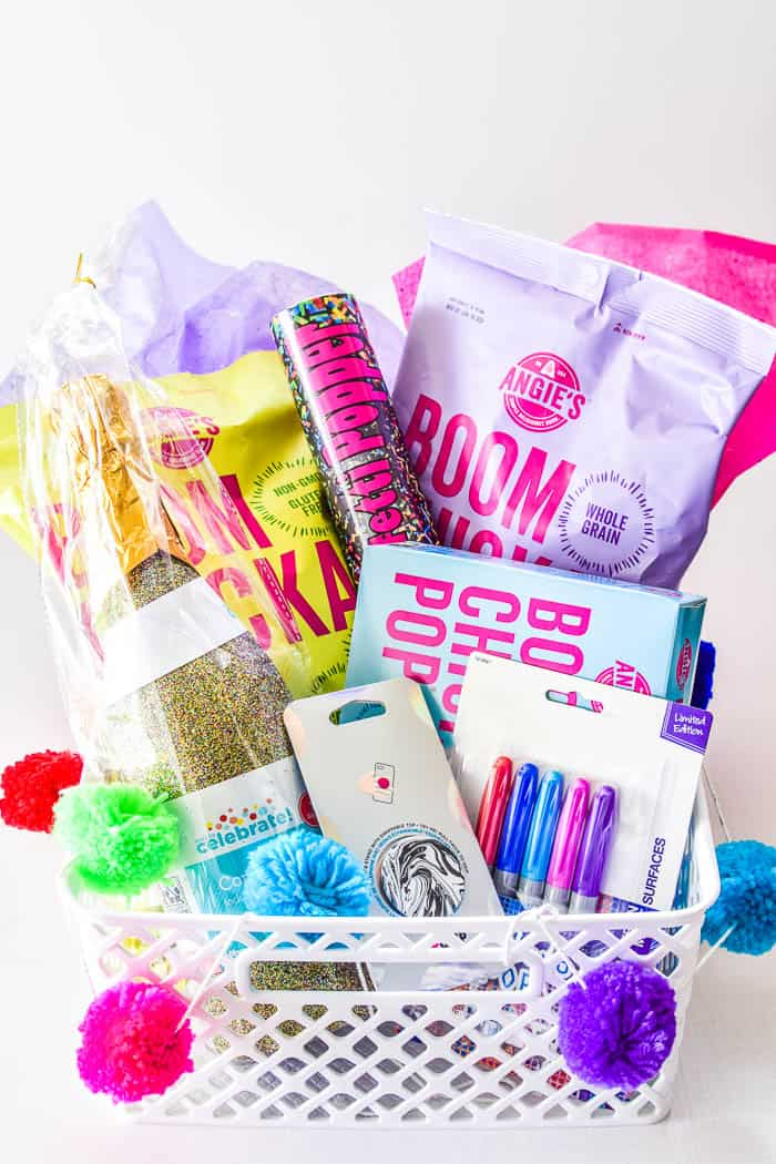 Popcorn gift basket with Angie's Boomchickapop, confetti poppers, pop socket, and Electro Pop Sharpies