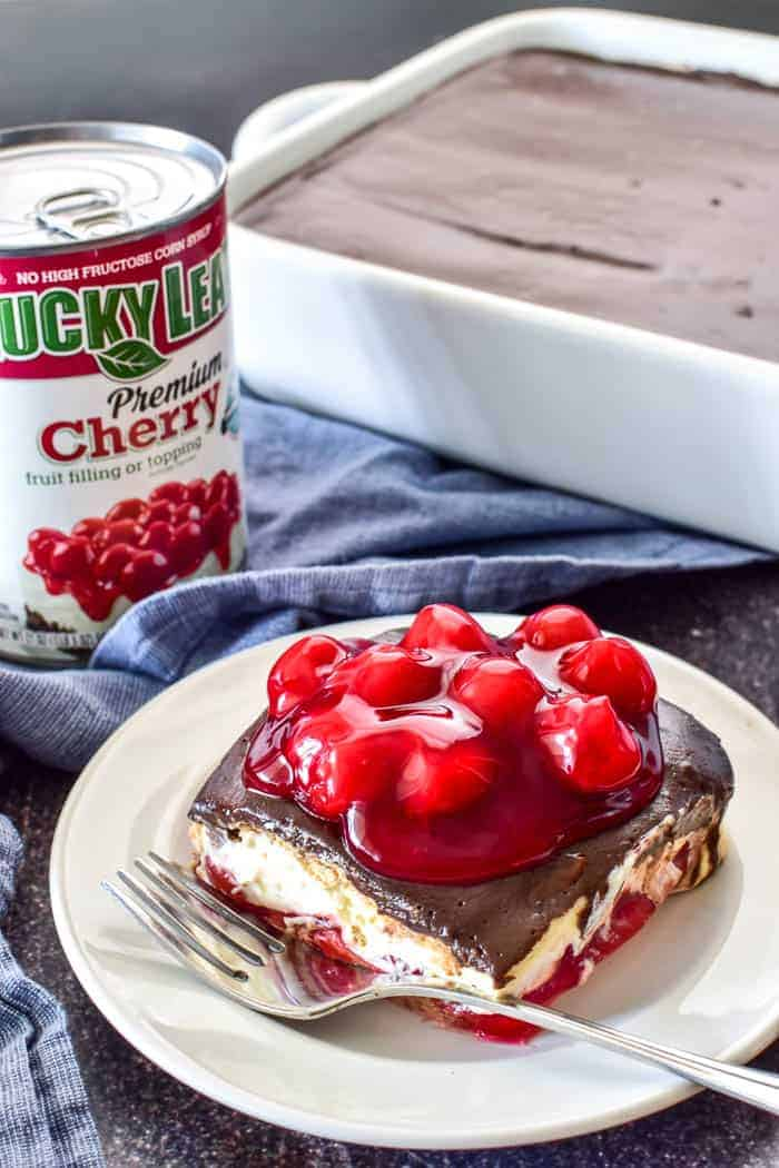 Cherry Chocolate Eclair Cake