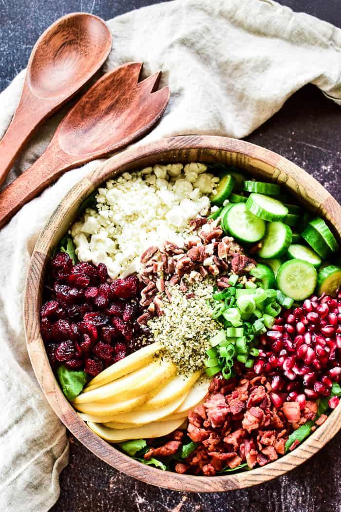 Overhead shot of Winter Salad in serving bowl