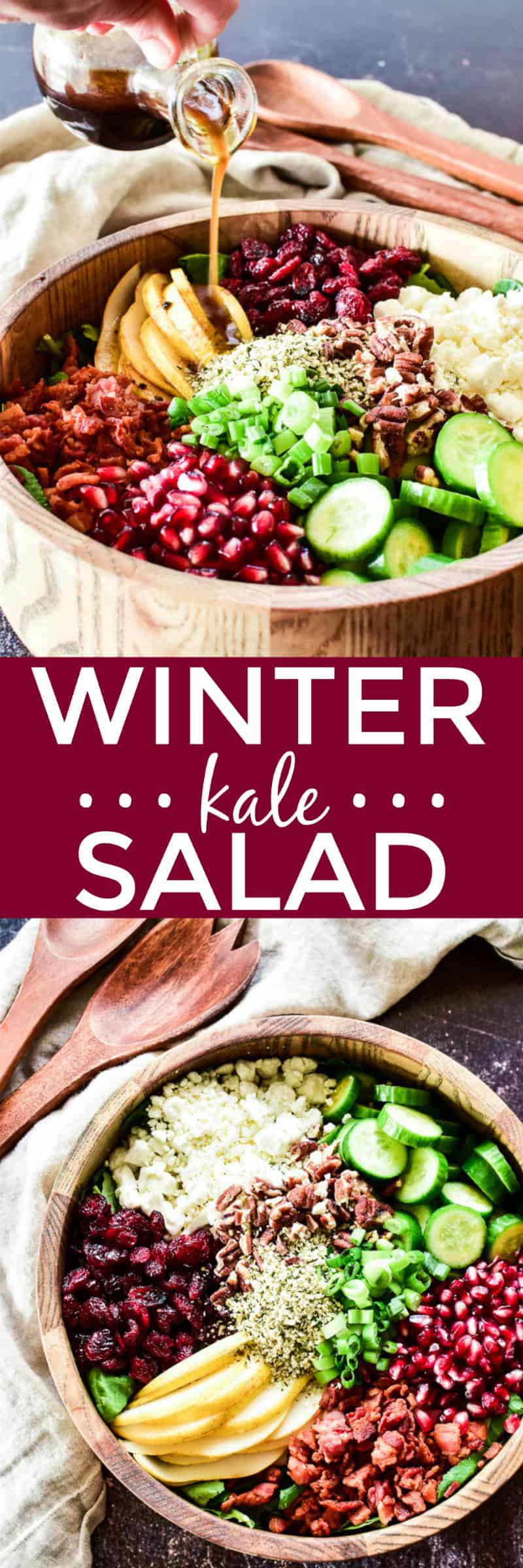 Collage image of Winter Kale Salad