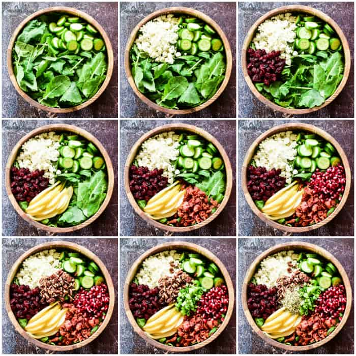 Step by step photos of assembling Winter Salad