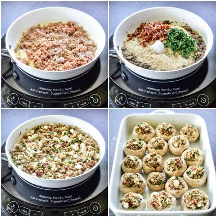 Step by step photos of making stuffed mushroom filling