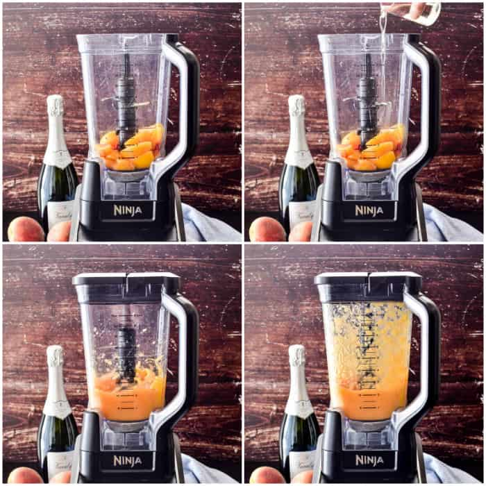 Step by step photos of peach puree for bellinis