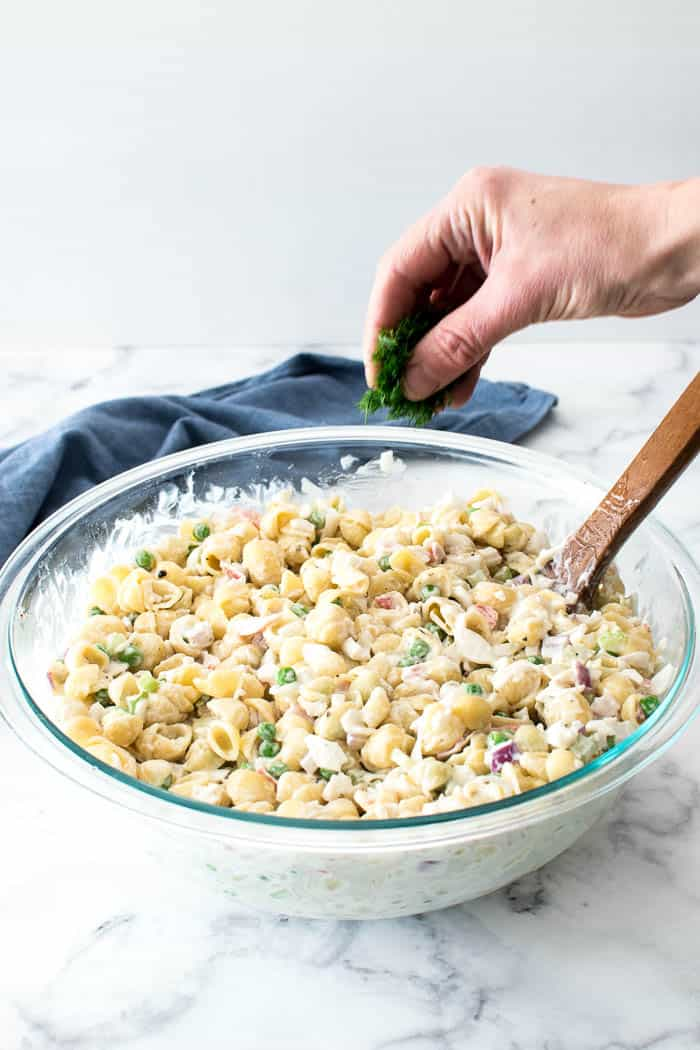 Crab Salad process shot - add fresh dill