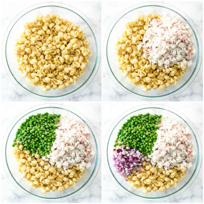 Step by step - adding ingredients to pasta for crab salad
