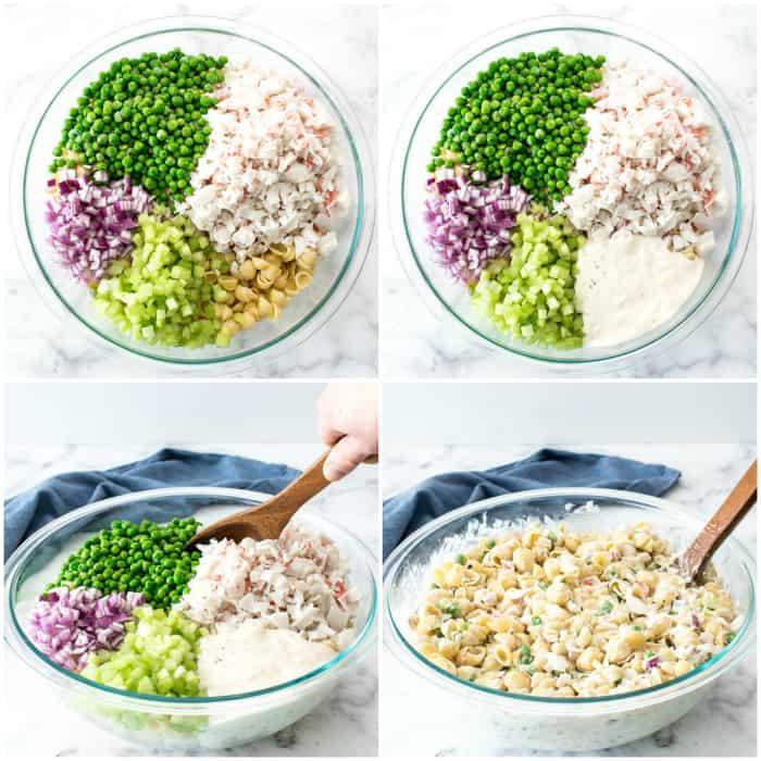 Step by step - making crab salad