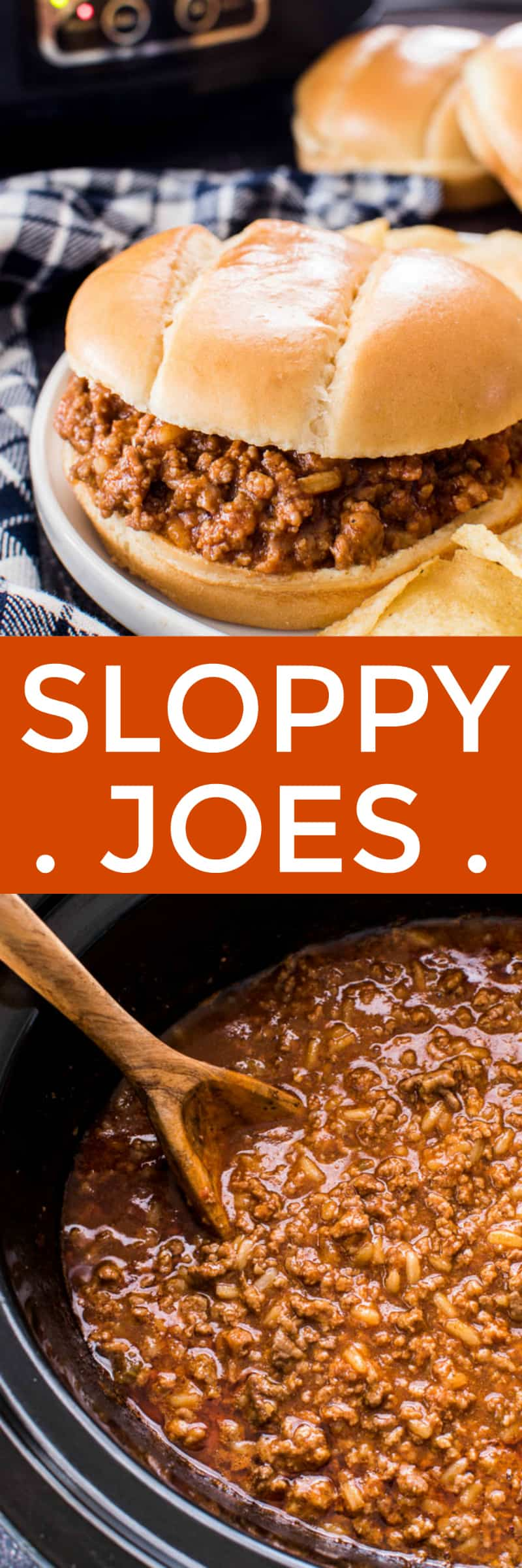 Sloppy Joes in crock pot and in a bun