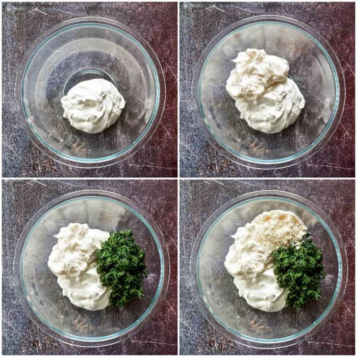 Spinach Dip Process Shots - steps 1 through 4