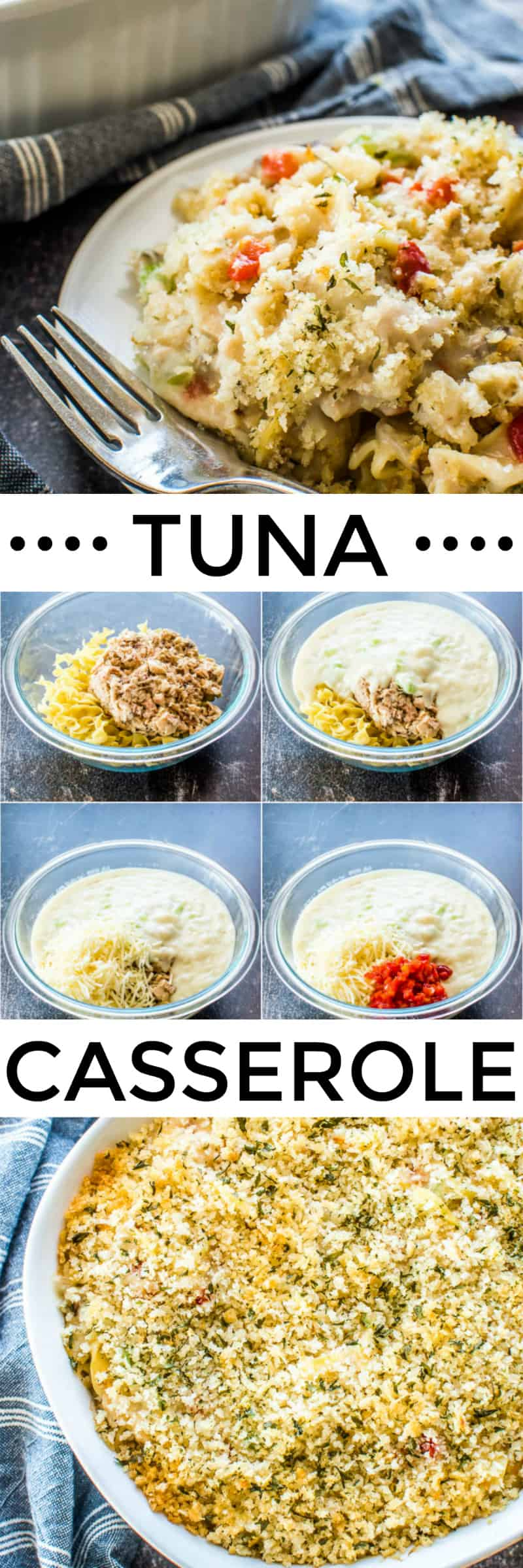 Step by step and finished photos of Tuna Casserole