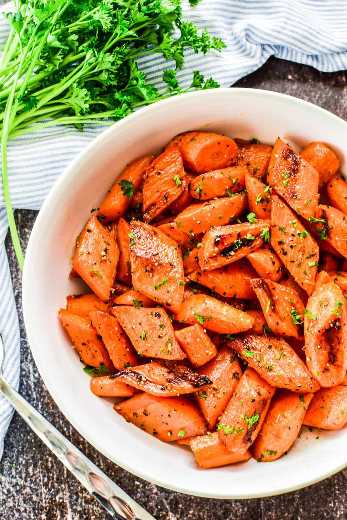 Overhead shot of Roasted Carrots in a serving bowl