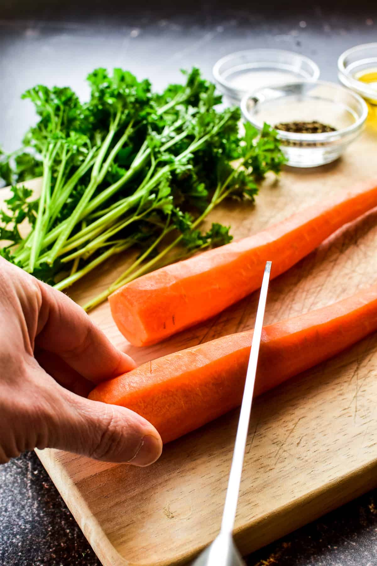 How to cut carrots for Roasted Carrots recipe