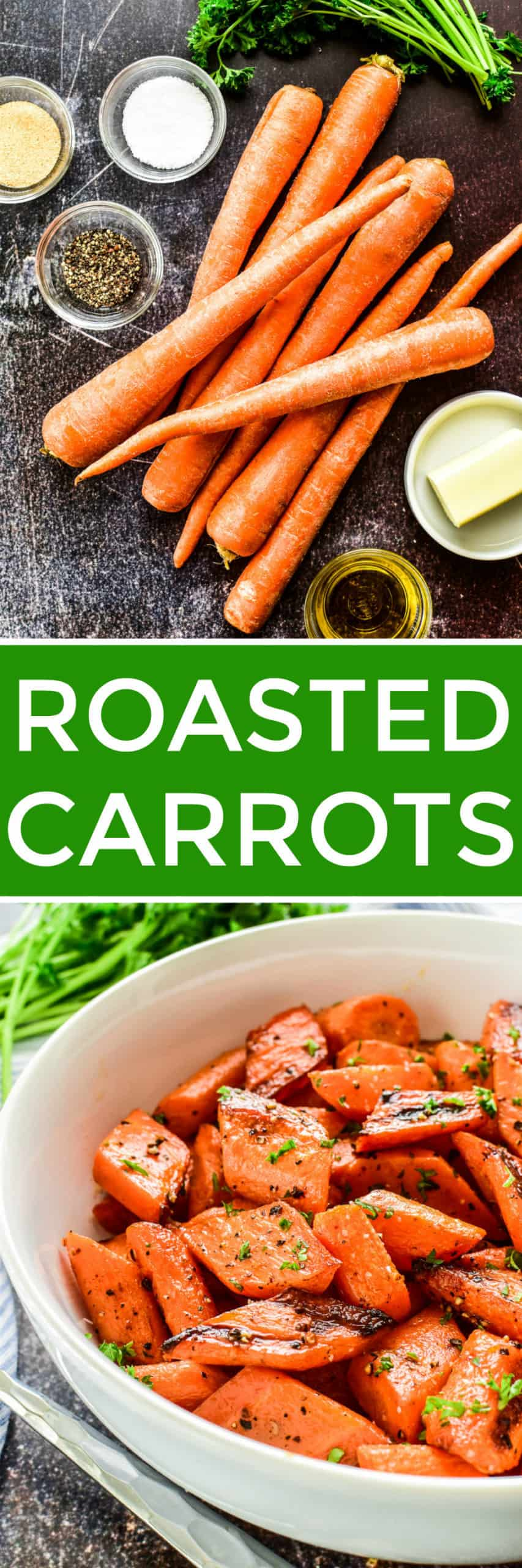 Collage image of Roasted Carrots ingredients and finished recipe
