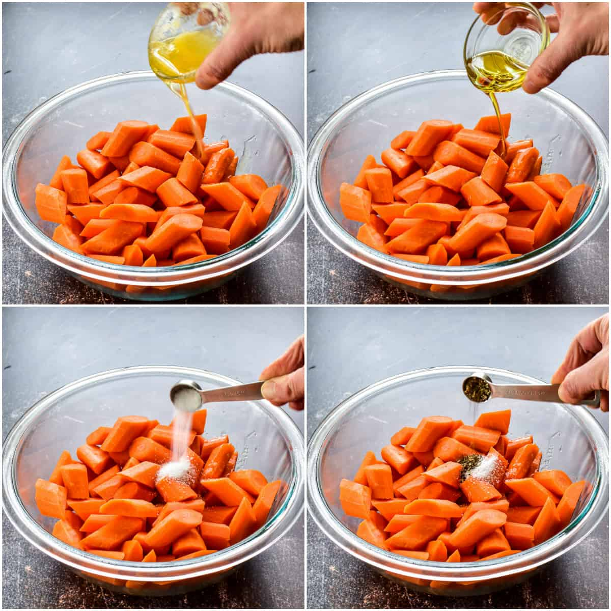 Step by step photos of Roasted Carrots prep