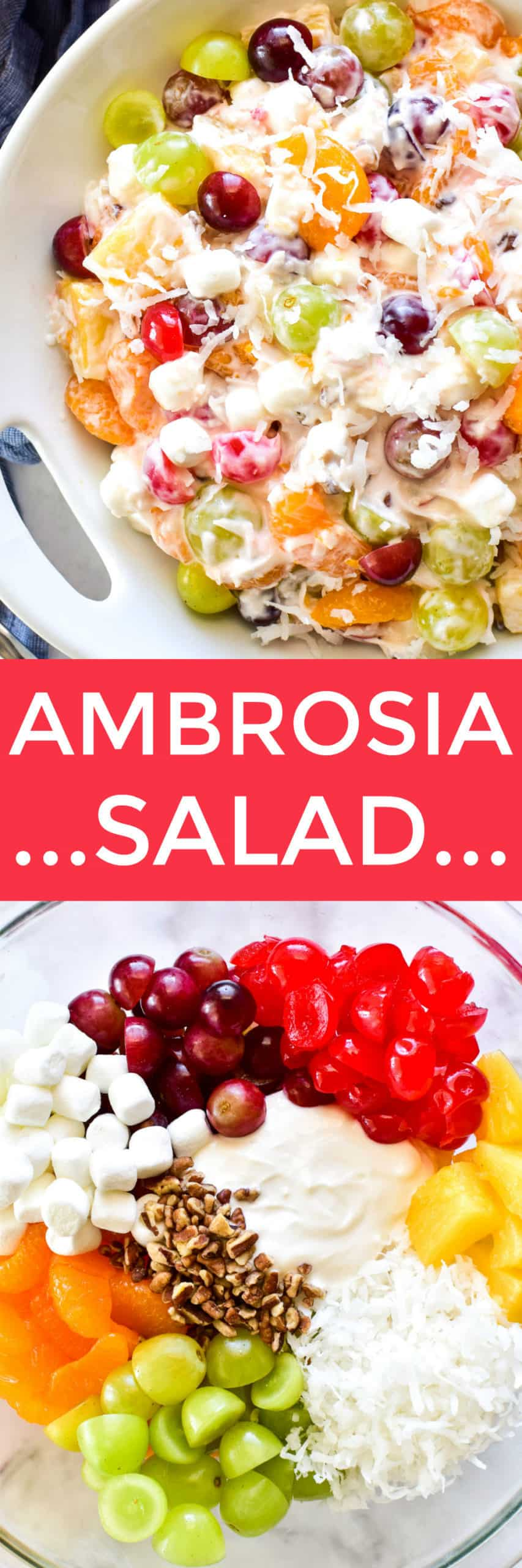 Collage image of Ambrosia Salad and ingredients