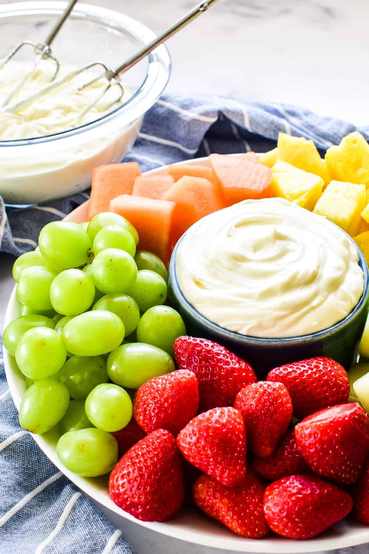 Side view of fruit platter with dip