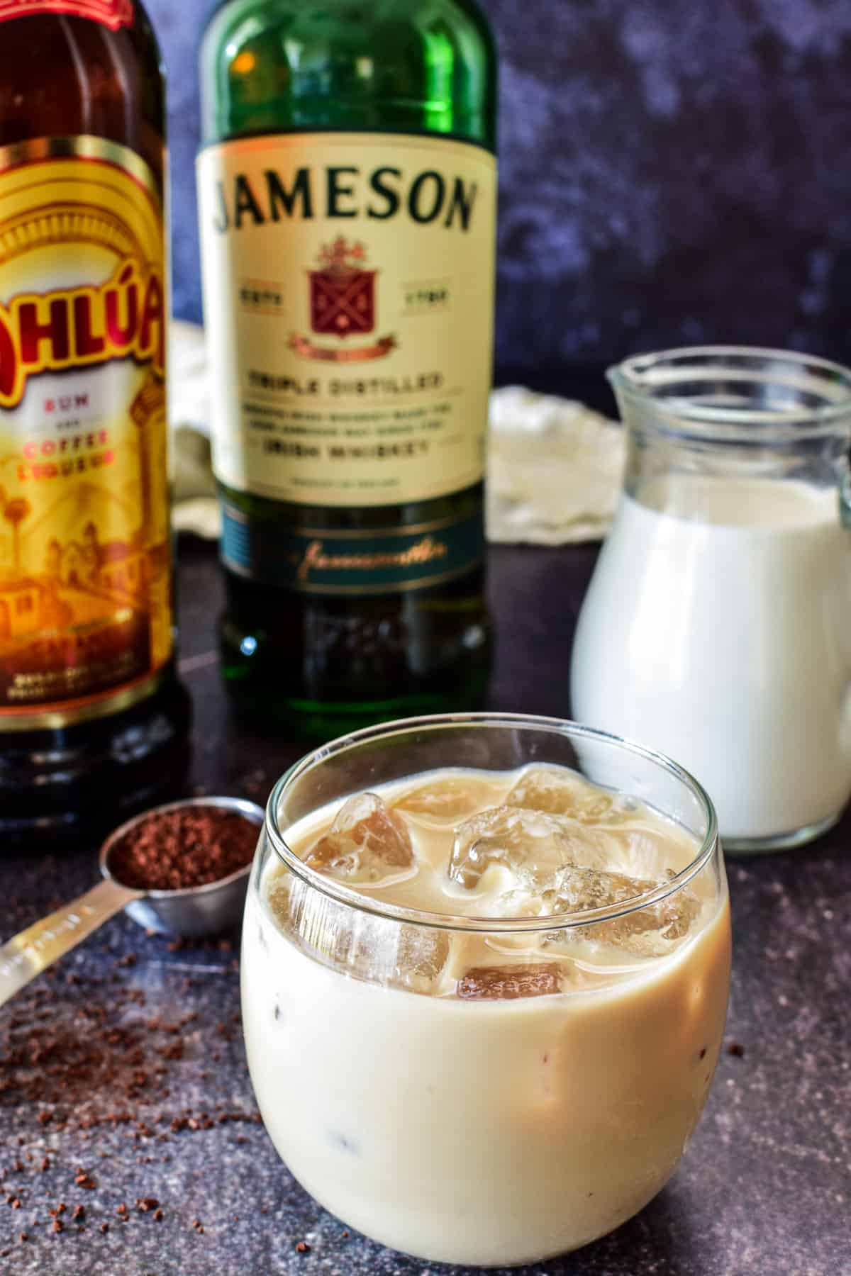 Homemade Irish Cream in a glass with ice