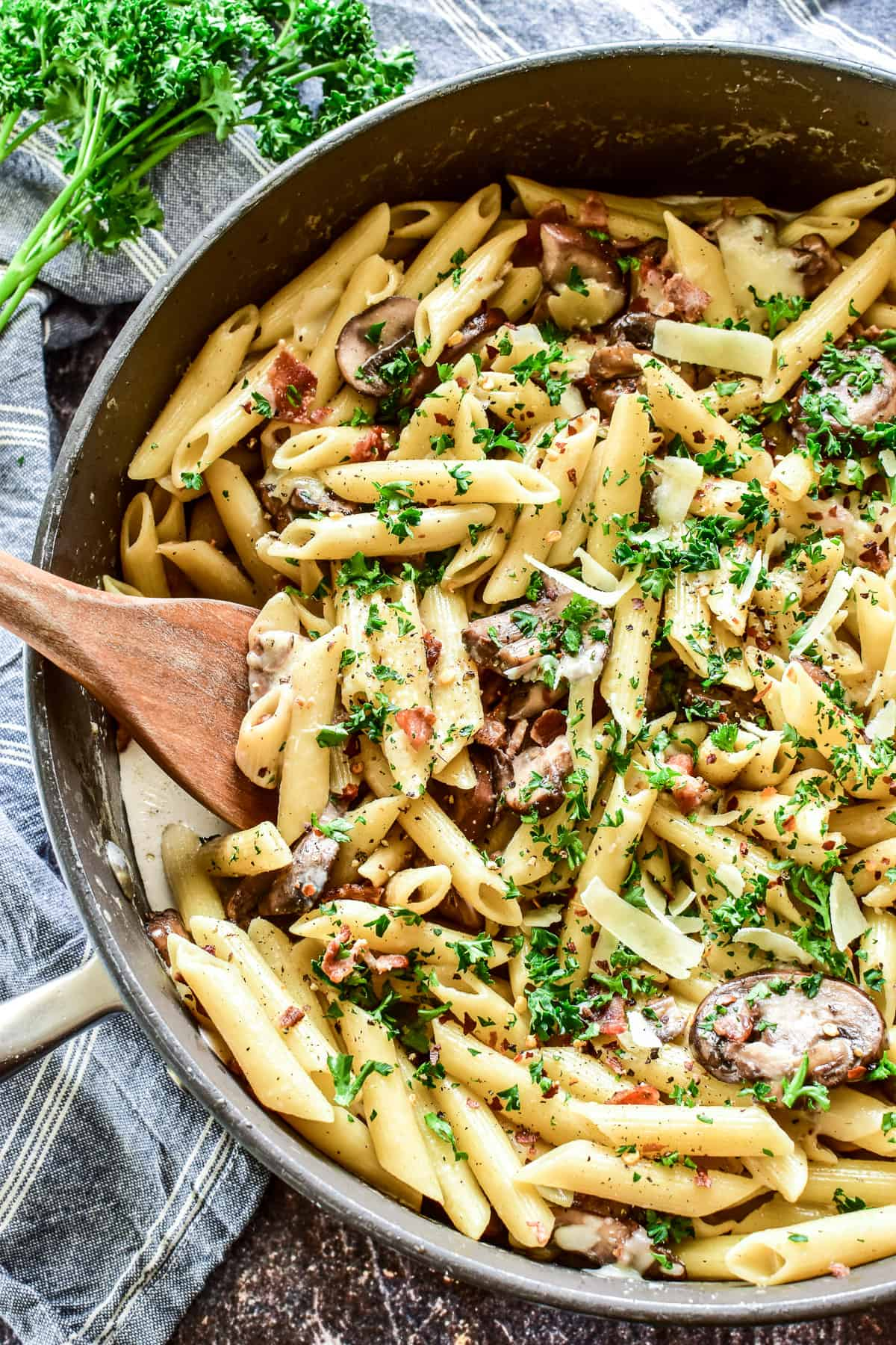 Penne with Mushrooms & Bacon in pan