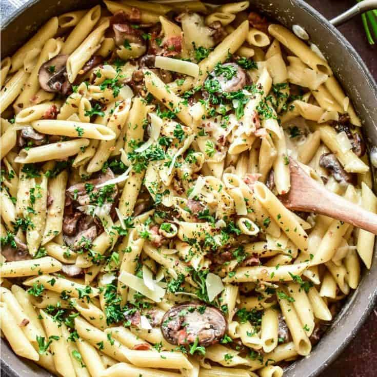Penne with Mushrooms & Bacon