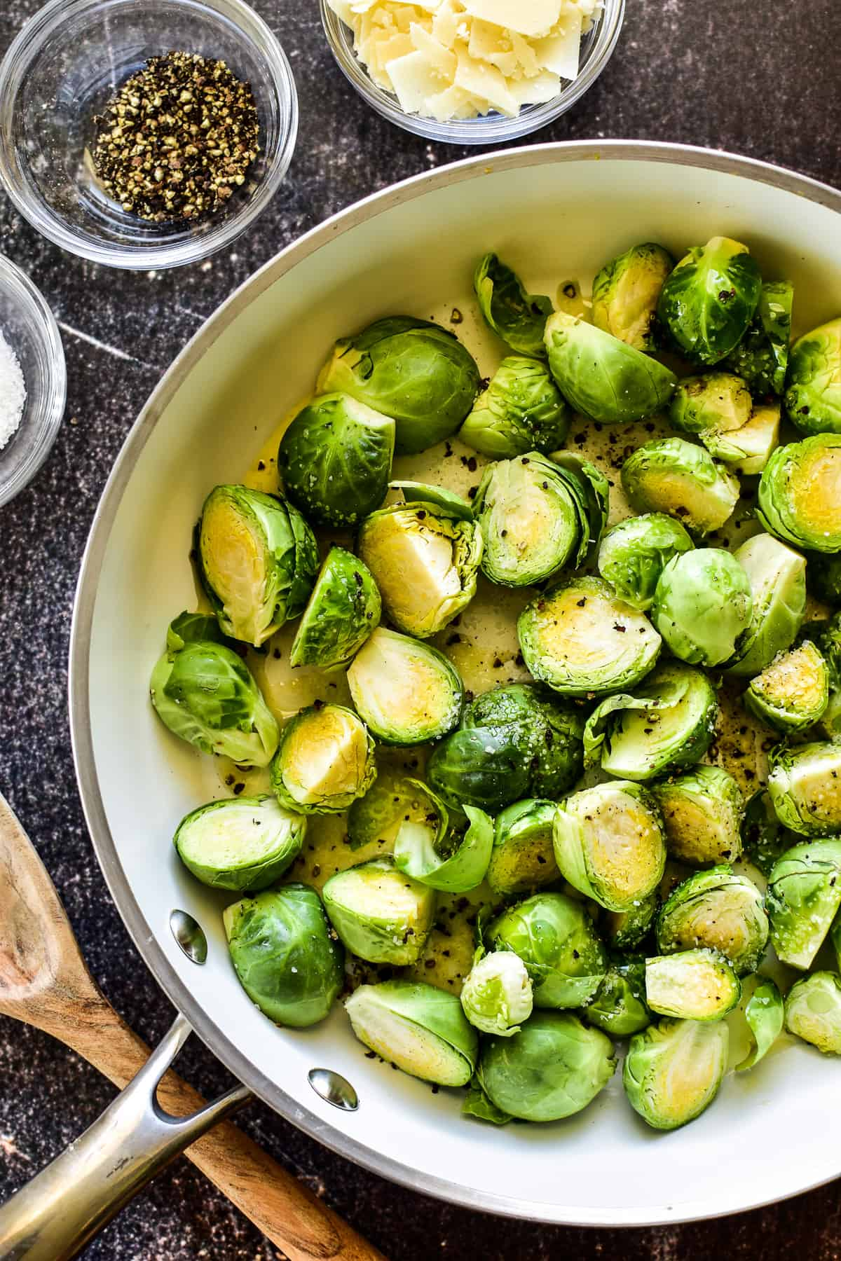 Sauteed Brussel Sprouts ingredients combined in skillet
