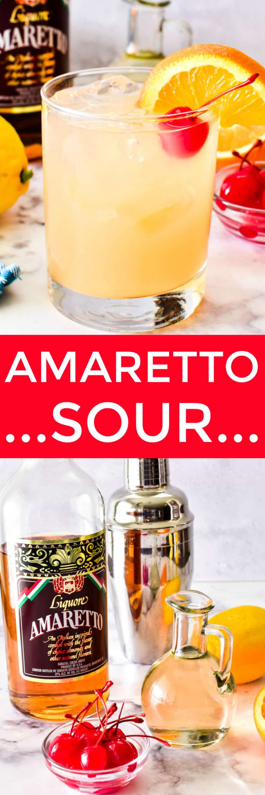 Collage image of Amaretto Sour with ingredients