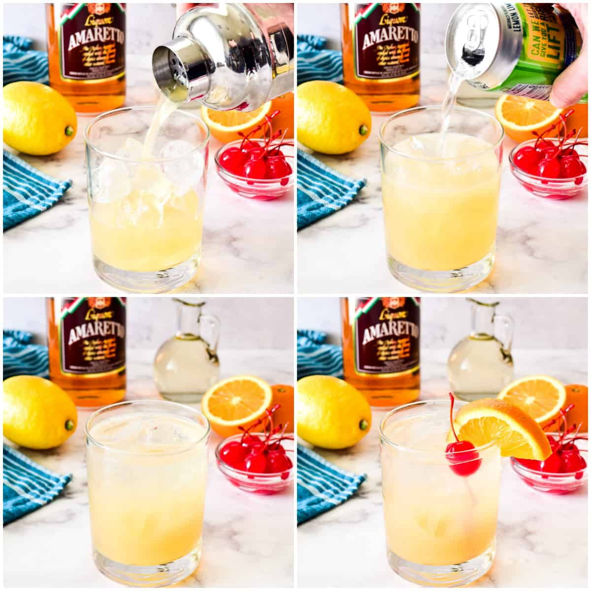 Process shots for pouring and garnishing Amaretto Sour