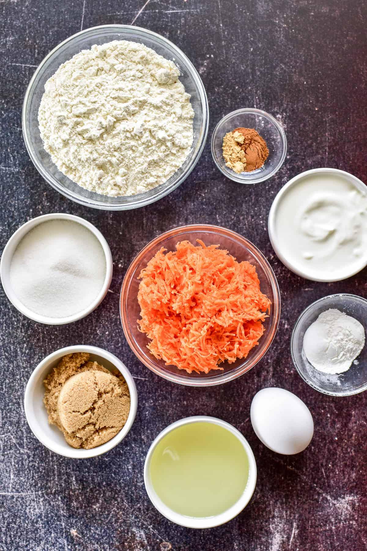 Overhead shot of ingredients in bowls