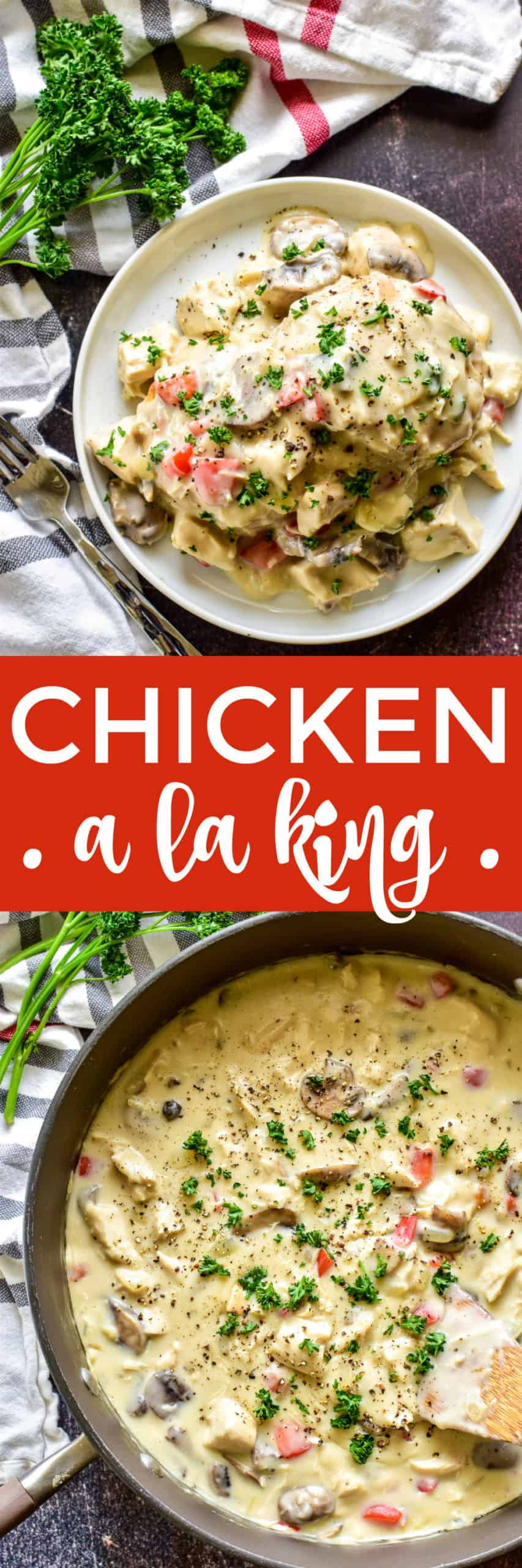 Collage image of Chicken a la King
