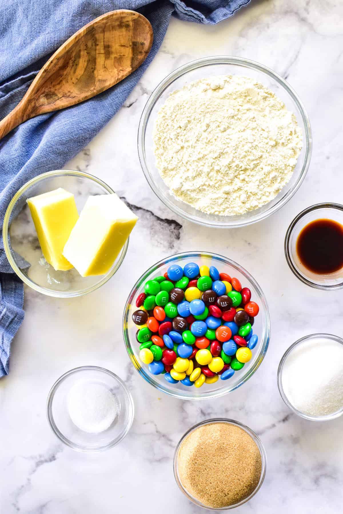 Edible Cookie Dough ingredients in bowls