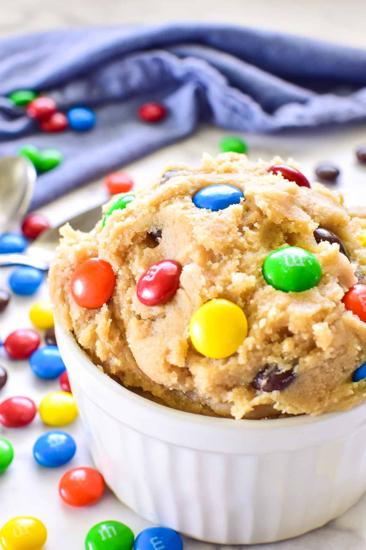 Edible Cookie Dough in bowl with m&m's