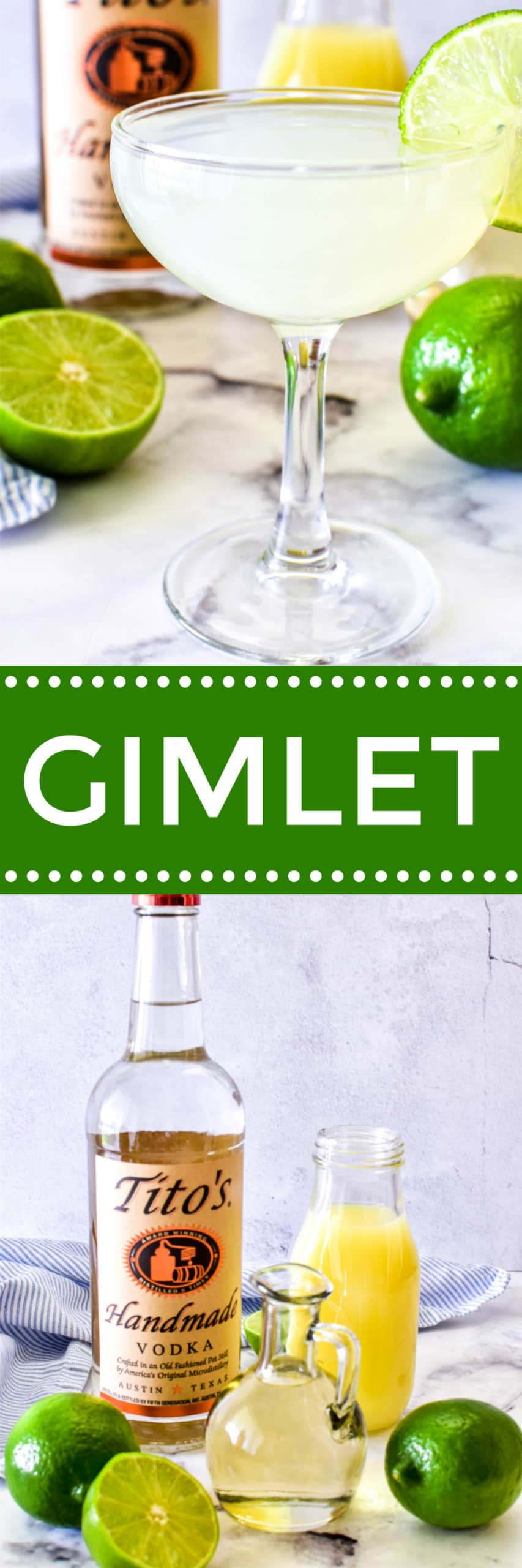 Collage image of Vodka Gimlet and ingredients